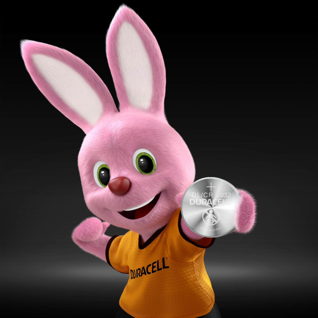 Bunny introducing Duracell Lithium Coin 2032 battery