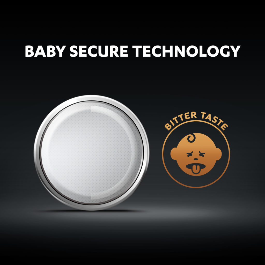 Duracell 2032 Lithium coin batteries come with baby secure technology