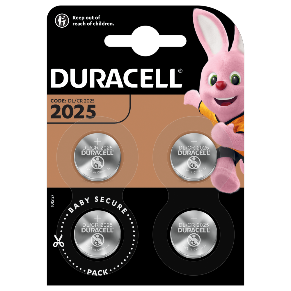 Duracell Specialty Lithium Coin 2025 Batteries 4 piece pack