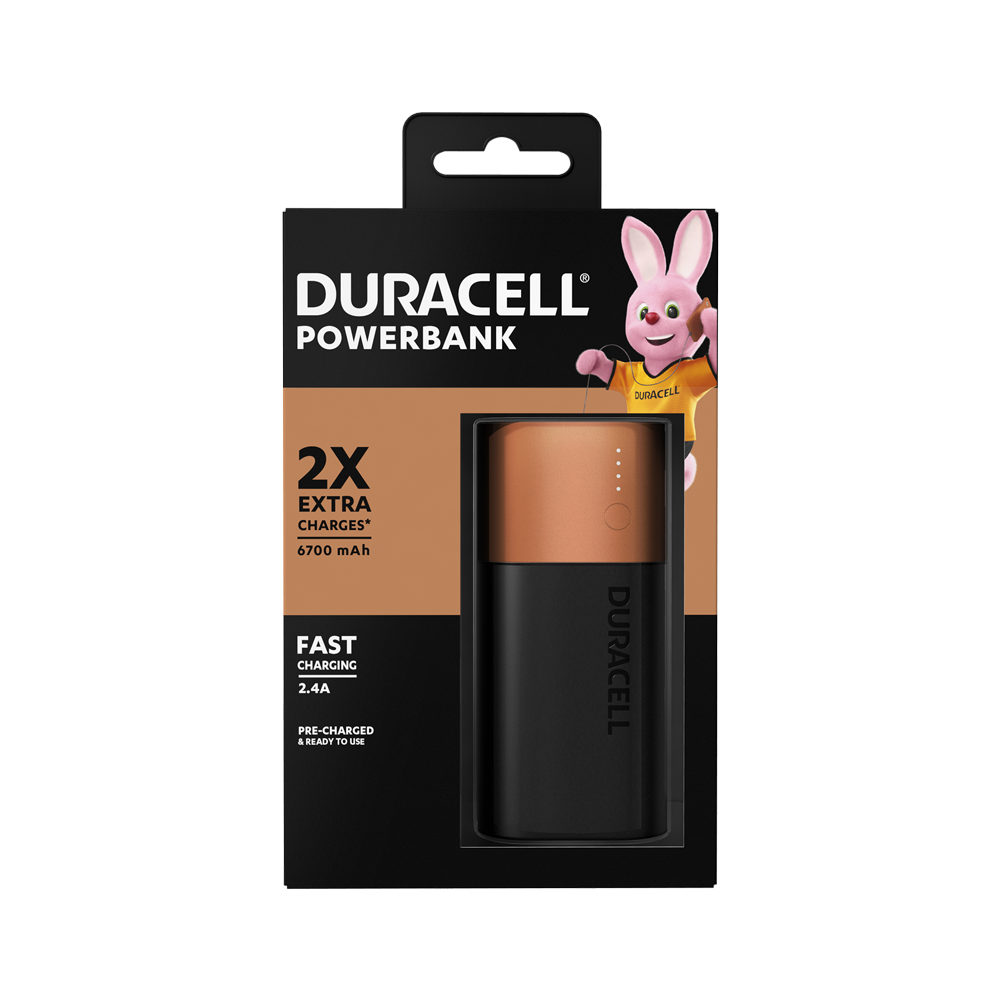 Duracell rechargeable Power Bank of 6700mAh for Apple, Android and most usb-powered devices